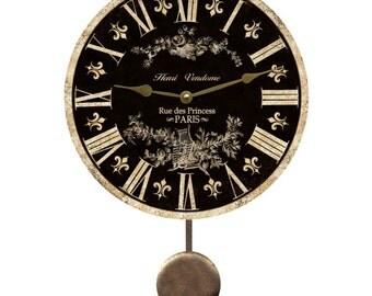 Black Toile Pendulum Clock