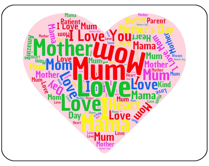 Mother Word Cloud - Mouse Mat Mouse Pad, Mother's Day, Birthday