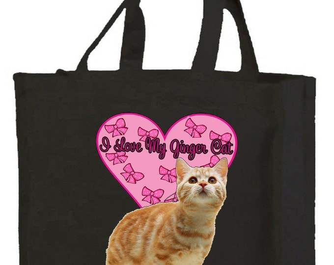 I Love My Ginger Cat Cotton Shopping Bag with gusset and long handles, 3 colour options
