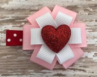Valentine Hair Bow - Valentine's Day Hair Accessory - Small Heart Pink Hair Clip - Valentine's Day - Heart Bow - Heart Accessory - Heart Bow