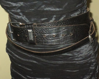 Woman's Vintage Black Leather Alligator Print Belt , Double Strap