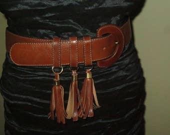 Woman's Vintage Cognac Tan Leather Tassel Belt , 1 5/8 inches wide