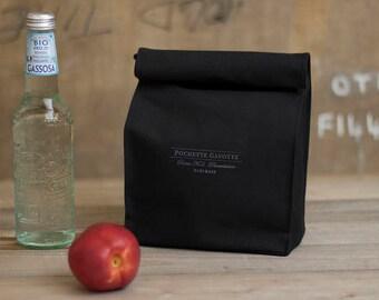 Black Lunch Bag Natural cotton canvas, Clutch bag Reusable Eco bag Snack bag, Organizer Bag insert