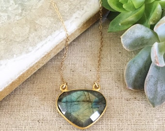 Faceted Labradorite Pendant Necklace