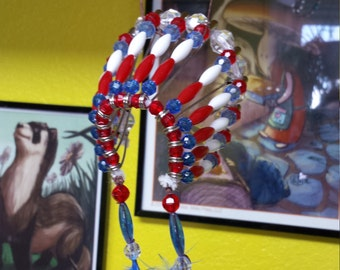 Large Red, White, and Blue Indian Headdress (Car Decoration/Ornament) - #5-0117