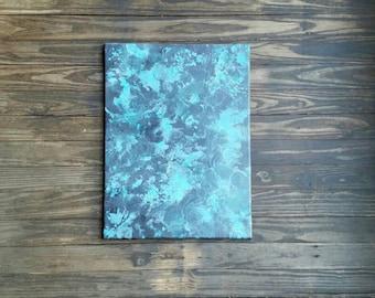 "Melted Crayon Art/ abstract art/ Black and teal artwork/18""x 24"" painting/ original artwork/ ready to hang free shipping"