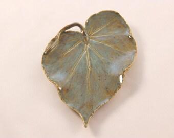 Pottery Leaf Spoon Rest - Tea Bag Holder, Green Leaf Spoon Dish