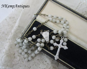 Vintage glass rosary French