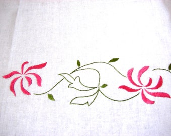 Handmade Embroidered Tablecloth White Cotton with Delicate Chrysanthemum Flowers