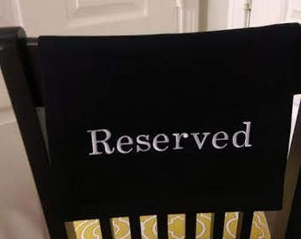 Fabric Reserved Sign for auditorium, church, venue, theater, chair, pew