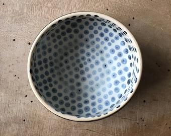 Matcha green tea bowl, Handmade tea bowl, Polka dot bowl, Shawan bowl, Gift for her, Danish unique bowl, Breakfast bowl Farmhouse style bowl