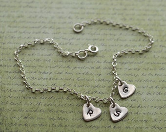 Sterling silver bracelet personalised silver heart trio three hearts chain bracelet charm choose your letters
