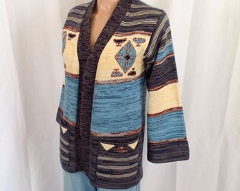 1970's Boho Acrylic Knit Wrap Sweater Sz. M