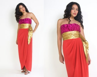 Vintage 80s Colorblock Pink Orange Metallic Gold Bow Strapless Maxi Dress Tulip Skirt Column Gown