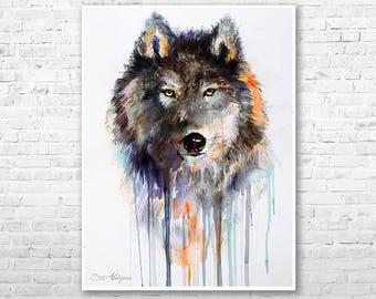 Charcoal Wolf watercolor painting print by Slaveika Aladjova, art, animal, illustration, home decor, Nursery, gift, Wildlife, Contemporary