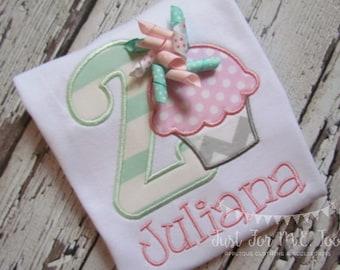Personalized Girls Birthday Cupcake Applique Shirt, Summer Birthday, 2nd Birthday Applique shirt,Cupcake Birthday FREE MONOGRAM