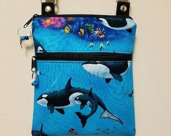 "Crossbody Purse,Dolphins Purse,Dolphin Crossbody Purse Front Lined Zipper Pocket,68"" Adjustable Strap,Long Over Shoulder Strap,Nylon Lining."