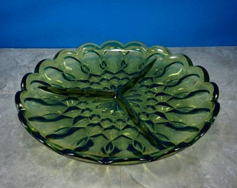 Vintage Green Glass Round Divided Tray/Plate Avocado Green 1970s Relish Tray or Serving Tray - 3 Sections