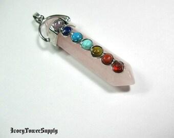 Rose Quartz Crystal Point Pendant, 7 Chakra Pendant, Yoga Pendant, Gemstone Pendants, Semi Precious Stone, Pink Pendants, Reiki Pendant