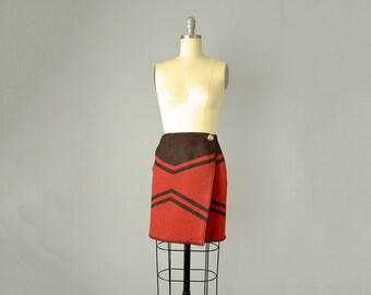80s Skirt // 1980s Ralph Lauren Black and Red Blanket Wrap Skirt // Small