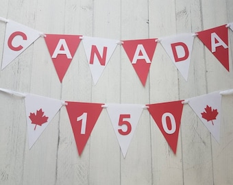 Canada Day Banner-Happy Canada Day-150-Red and White-Maple Leaves