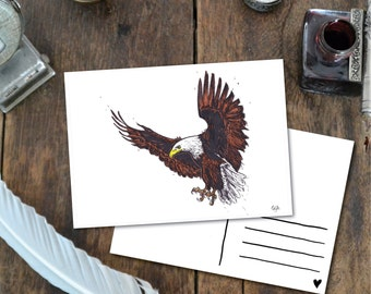 Eagle - Postcard with Illustration, american eagle bird of prey