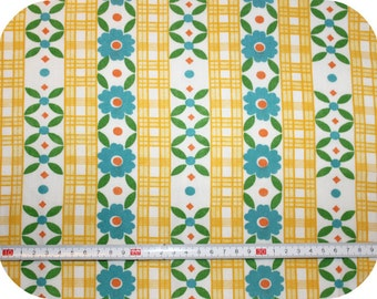 Floral retro vintage fabric - yellow, blue, green and orange