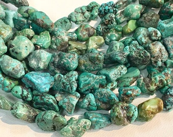 Half strand of natural turquoise nuggets 33 002-120