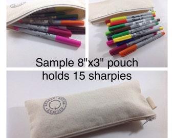 Set of 5,  8x3 Plain canvas pencil case, fabric bag, sturdy coin purse, gift bag, zipper canvas pouch, plain canvas case, party gift