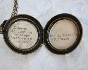 Brass Locket with Voltaire Quote