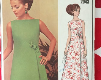 1960s 60s Evening Dress in Two Lengths Designer Pierre Balmain Vogue 2043 Paris Original vintage sewing pattern Size 18 Bust 40 UNCUT