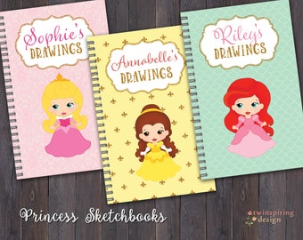 Sketch Books for Girls - 6 Princess Designs to Choose From! Personalized Sketch Book Gift