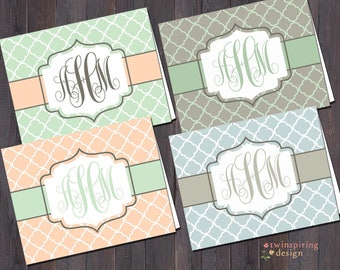 Monogram Quatefoil Folded Note Cards with Envelopes