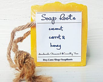 Carrot Soap - Unscented Nutritious Natural Soap - Handmade - Lye Soap - Real Soap - Coconut Milk
