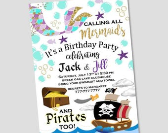 Mermaid and Pirate Birthday Invitation | Twin Invitation | Boy and Girl Party