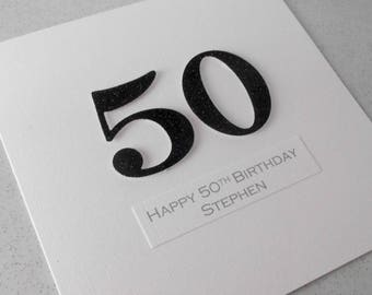 Handmade 50th birthday card, personalized, can be any age or colour 18th, 30th, 40th, 21st, 60th, 70th , 80th, 90th 100th