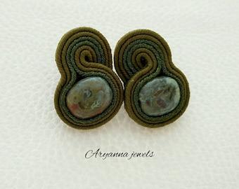 Little soutache earring green