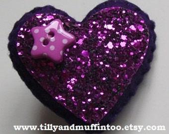 Handmade Felt Purple Glitter Heart Brooch/Pin.  Party Favors,Wedding Favours,Bridal Shower,Stocking Stuffers/Fillers.