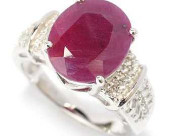Sterling Silver 5.71ctw Indian Ruby Solitaire w/accent Ring SZ 5,6,7,8,9,10