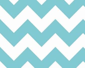 Riley Blake Large Aqua Blue Chevron Fabric- 1/2 yard