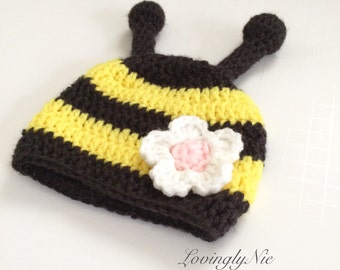 bumble bee beanie, bee hat, crochet bee beanie, photo prop, baby gift