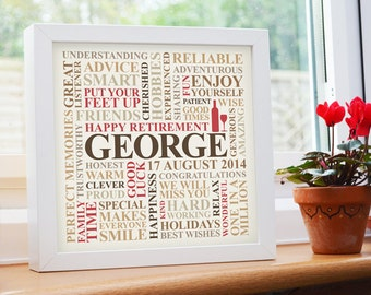 Framed Retirement print. Personalised unique word art gift present.
