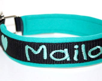 "Train stop collar with name ""black mint"" dog collar dog neoprene"