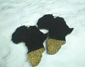 Black and Gold Glitter Dipped Africa EarringsAdinkra Earrings African Jewelry Afrocentric  Handmade Jewellery Natural Hair Africa