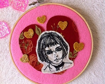 """Mathilda from """"Leon the professional """" movie wall decor /Movie embroidery hoop art/ Mathilda collage embroidery"""