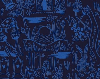 Sale!!- Magic Forest in Navy Canvas- Wonderland by Rifle Paper Co for Cotton and Steel