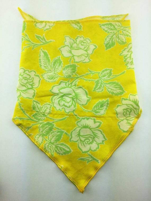 Belle's Rose: Yellow Cotton Bandana w/ Grass Green Roses Print and Secret Pocket
