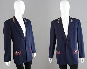 Vintage 80s BYBLOS Mens Embroidered Blazer Dark Navy Blue Wool Jacket Made in Italy Designer Blazer Rare 1980s Menswear Nautical Buttons
