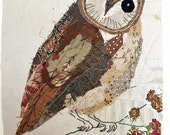 Unframed appliqued and hand embroidered owl on very old quilt fragment