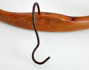 Vintage curved wood coat hanger, tailor clothing, shop decor, 30s clothes hanger, traditional wooden hanger, rustic hanger, made in Romania